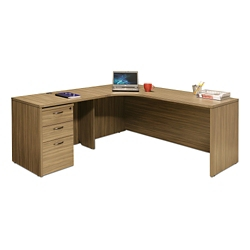 "Wood Grain Corner L-Desk with Left Return and Pedestal - 71""W, 14296"