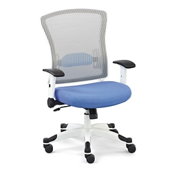 Linear Collection White Mesh Chair with Flip Arms and Memory Foam Seat, 50024