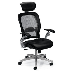 Mesh High-Back Ergonomic Chair with Leather Seat, 56475
