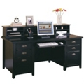 Executive Desk with Storage Hutch in a Distressed Finish, 15989