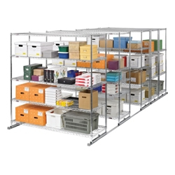 "Space-Saving Storage Track - Set of Five Mobile Shelves 36""W x 18""D., 31714"