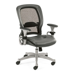 Ergonomic Chair with Gray Leather Seat and Mesh Back, 56484