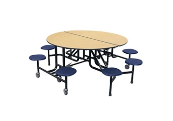 "Round Eight Seat Mobile Cafeteria Table - 27""H, 44413"