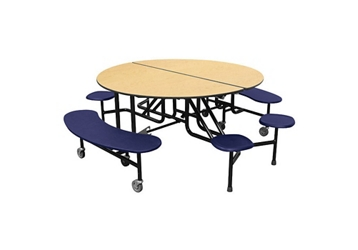 "Round 12 Seat Combo Mobile Cafeteria Table - 29""H, 44414"