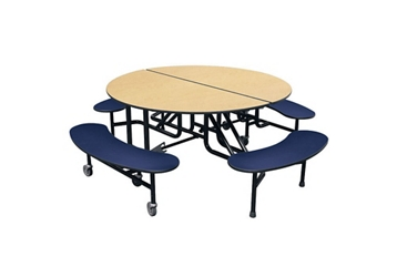 "Round 4 Bench Mobile Cafeteria Table - 27""H , 44417"