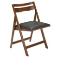 Scoop Folding Chair with Faux Leather Seat, 25229