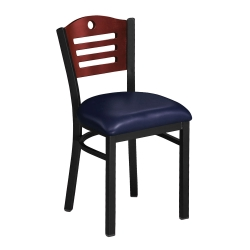 Designer-Back Chair with Wood Back and Black Frame, 44218
