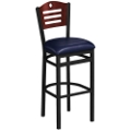 Designer-Back Stool with Wood Back and Black Frame, 44219