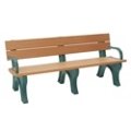6' W Eco Friendly Bench with Backrest and Arms, 85883
