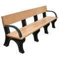 8' W Eco Friendly Outdoor Bench with Backrest and Arms, 85889