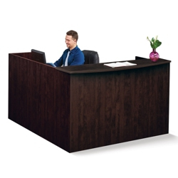 """Solutions Reception L-Desk with Right Return and Short Pedestal - 71""""W, 13965"""
