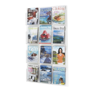 Safco Clear Plastic Twelve Pocket Magazine Rack Clear