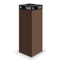 """Steel Waste Receptacle with Square Top - 44""""H, 90837"""
