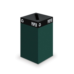 "Steel Waste Receptacle with Slot Top - 32""H, 90843"