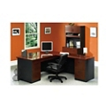 Bowfront L-Desk and Locking Lateral File with Hutch , 14154
