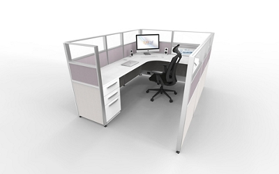 """8'x6' L-Cubicle with Glass Top Panels - 53""""H, 21870"""