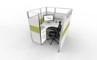 """5'x5' Cubicle with Glass Top - 65""""H, 22480"""