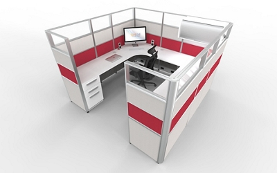"""8'x8' U-Cubicle with Glass Top Panels - 65""""H, 22482"""