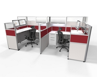 """Two-Tiered 6'x6' Cubicles with Adjustable Height Workstations 53-65""""H, 22483"""
