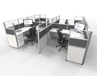 """Four Pack of 6'x6' Cubicles with Glass Tops -  53""""H, 21863"""