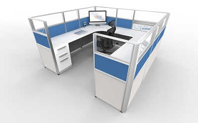 """8'x8' U-Cubicle with Glass Top Panels - 53""""H, 21868"""