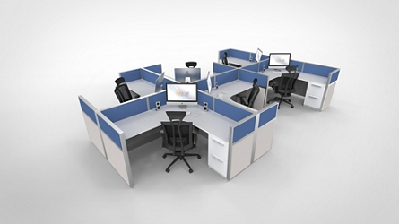 "Six Pack of 6'x6' Cubicles -  41""H, 21869"