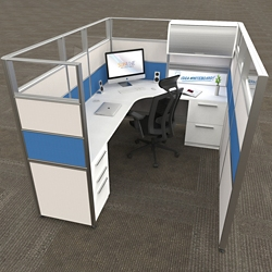 """8'x6' L-Cubicle with Glass Top Panels - 65""""H, 22481"""
