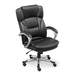 tall or big man chair with black leather and her and titanium finish frame