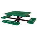 Square Perforated Picnic Table with In-ground Mount, 85806