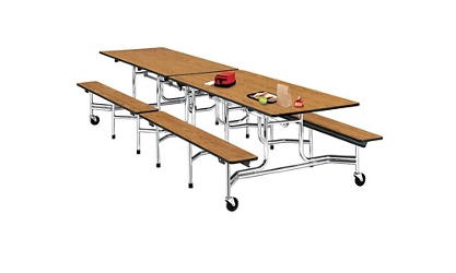 12' Cafeteria Table with Bench Seating, 44409