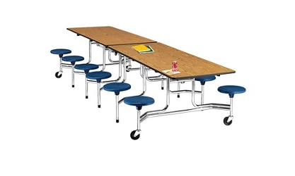 12' Cafeteria Table with Stool Seating, 44411