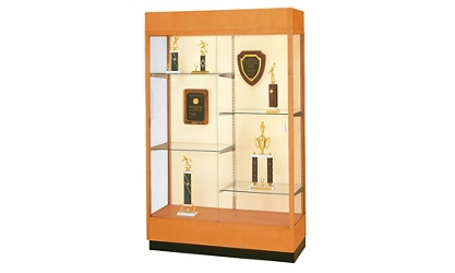 "Oak Frame Trophy Display Case with Fabric Back - 48""W x 70""H, 36808"