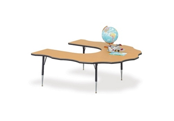"60"" x 66"" Adjustable Scalloped Horseshoe Activity Table, 46358"