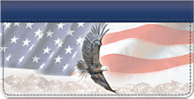 God Bless America American Bald Eagle and Flag Checkbook Cover