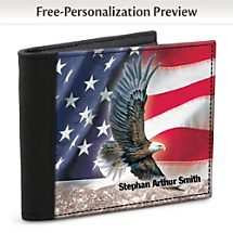 An All-American, Leather-Accented Wallet with a Patriotic Design