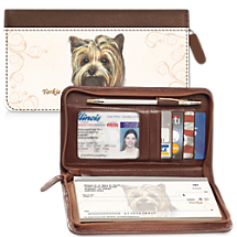 Yorkie Zippered Checkbook Cover