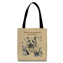Four Yorkshire Terrier Dogs Make Loyal Carryall Companions for Shopping Trips and Beyond!