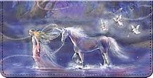 Follow Your Dreams Fantasy Unicorn and Fairy Art Checkbook Cover