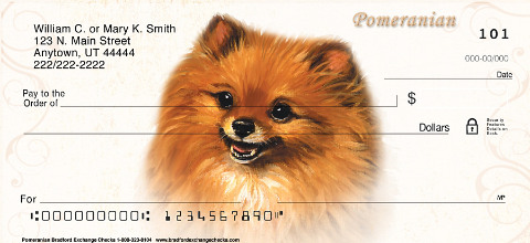Pomeranian Dog Personal Checks