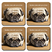 Faithful Friends - Pug Coaster Set