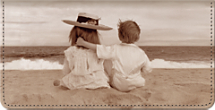 Friends Forever, Featuring Two Children Leather Checkbook Cover