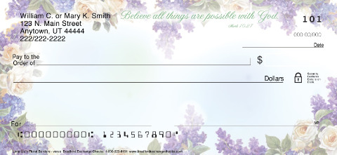 Lena Liu's Floral Borders with Verse Inspirational Personal Checks