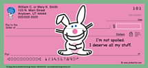 Jim Benton it's happy bunny Personal Checks