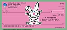 Jim Benton it's happy bunny Personal Checks