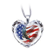 American Pride Crystal Heart Pendant with Eagle Art