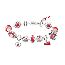 Wisconsin Badgers Charm Bracelet With Swarovski Crystals