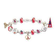 St. Louis Cardinals Charm Bracelet With Swarovski Crystals