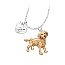 Golden Retriever Dog Pendant with Movable Legs and Tail