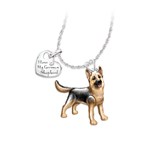 German Shepherd Pendant Necklace with Movable Legs and Tail