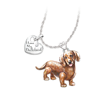 Dachshund Dog Pendant Necklace with Movable Tail and Legs